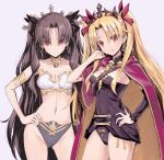 2girls anklet armlet asymmetrical_legwear asymmetrical_sleeves bangs bare_shoulders between_breasts black_cape black_hair black_legwear blonde_hair breasts bridal_gauntlets buckle cape crown detached_collar earrings elbow_gloves ereshkigal_(fate/grand_order) fate/grand_order fate_(series) fur-trimmed_cape fur_trim gloves hair_ribbon highres hoop_earrings infinity ishtar_(fate/grand_order) jewelry long_hair looking_at_viewer medium_breasts midriff multicolored multicolored_cape multicolored_clothes multiple_girls navel neck_ring necklace open_mouth parted_bangs pelvic_curtain red_cape red_eyes red_ribbon ribbon single_elbow_glove single_sleeve single_thighhigh skull smile spine thigh-highs tiara toeless_legwear two_side_up very_long_hair yellow_cape yoshit_m