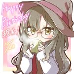 1girl bangs blush brown_eyes brown_hair brown_headwear character_request commentary_request covered_mouth cup dated eyebrows_visible_through_hair futaba_rio glasses hair_between_eyes happy_birthday hat holding holding_cup jako_(jakoo21) labcoat long_hair long_sleeves looking_at_viewer mug necktie open_clothes red_neckwear seishun_buta_yarou signature sleeves_past_wrists solo steam upper_body witch_hat