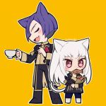 1boy 1girl animal_ears artist_name cat_ears cat_tail closed_eyes cup do_m_kaeru eating fire_emblem fire_emblem:_three_houses food garreg_mach_monastery_uniform holding holding_cup long_hair long_sleeves lorenz_hellman_gloucester lysithea_von_ordelia open_mouth pink_eyes purple_hair short_hair simple_background tail taiyaki teacup uniform wagashi white_hair yellow_background