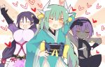 3girls aqua_hair aqua_kimono bangs black_gloves black_hairband black_leotard bodysuit bow breasts center_opening curvy dark_skin dragon_girl dragon_horns fate/grand_order fate/prototype fate/prototype:_fragments_of_blue_and_silver fate_(series) fingerless_gloves gloves hairband hassan_of_serenity_(fate) horns japanese_clothes kimono kiyohime_(fate/grand_order) large_breasts leggings leotard loincloth long_hair low-tied_long_hair matsushita_yuu minamoto_no_raikou_(fate/grand_order) multiple_girls multiple_horns obi parted_bangs pose purple_bodysuit purple_hair ribbed_sleeves rope sash skull_mask very_long_hair yellow_bow yellow_eyes