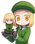 2girls :t bangs beret black_footwear blonde_hair blue_eyes boots brown_gloves closed_mouth commentary crossover eyebrows_visible_through_hair fate/grand_order fate_(series) frown giantess girls_und_panzer gloves green_coat green_headwear green_jumpsuit hat holding_person jumpsuit katyusha looking_at_viewer magenta_(atyana) multiple_girls paul_bunyan_(fate/grand_order) pout pravda_military_uniform short_hair short_jumpsuit simple_background smile standing v-shaped_eyebrows white_background yellow_eyes