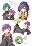 1boy 2girls armor bernadetta_von_varley black_armor blue_eyes blue_hair byleth_(fire_emblem) byleth_(fire_emblem)_(male) cape closed_mouth dress earrings fire_emblem fire_emblem:_three_houses flayn_(fire_emblem) from_side garreg_mach_monastery_uniform green_eyes green_hair grey_eyes hair_ornament hood hood_up jewelry long_hair long_sleeves multiple_girls open_mouth purple_hair short_hair simple_background tearing_up tefutene twitter_username uniform white_background