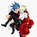2boys baggy_pants black_gloves black_jacket blue_hair cravat galo_thymos gloves green_hair half_gloves hand_on_another's_head highres jacket jacket_on_shoulders jionghai lio_fotia looking_at_viewer male_focus multiple_boys pants promare short_hair sitting sitting_on_lap sitting_on_person smile spiky_hair violet_eyes