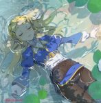 1girl bangs blonde_hair braid breasts closed_eyes crown_braid day flower hair_ornament hairclip lips long_hair long_sleeves lotus lying medium_breasts on_back outdoors pants parted_bangs partially_submerged pointy_ears princess_zelda shirt shuri_(84k) smile solo sparkle sunlight the_legend_of_zelda the_legend_of_zelda:_breath_of_the_wild thick_eyebrows twitter_username water