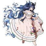 1girl bare_shoulders barefoot blue_bow blue_eyes blue_hair bow bracelet collarbone commentary dress hair_bow highres jewelry long_hair mefomefo nicaragua off-shoulder_dress off_shoulder simple_background skirt_hold solo touhou white_background white_dress yorigami_shion