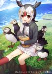 1girl :d animal atlantic_puffin_(kemono_friends) bird black_hair black_jacket black_wings blue_sky brown_hair clouds cloudy_sky commentary_request day feathered_wings food food_on_face frilled_skirt frills gambe gloves head_wings highres holding holding_food horizon jacket japari_chips kemono_friends kneehighs long_sleeves multicolored_hair namesake ocean open_clothes open_jacket open_mouth outdoors red_eyes red_legwear redhead shirt skirt sky smile solo sweater_vest translated water watermark white_gloves white_hair white_shirt white_skirt wings