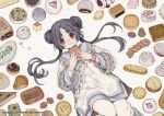 1girl :i baozi bead_bracelet beads black_hair bracelet cake chinese_clothes double_bun dumpling eating floral_print food food_request holding holding_food jewelry knee_up long_hair long_sleeves looking_at_viewer lying mia0309 on_back onii-chan_wa_zonbida original pants red_eyes short_eyebrows sidelocks slice_of_cake twintails