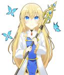 1girl absurdres blonde_hair blue_eyes blush breasts bug butterfly commentary_request eyebrows_visible_through_hair gkdnd goblin_slayer! hair_between_eyes highres holding holding_staff insect long_hair long_sleeves medium_breasts priestess_(goblin_slayer!) simple_background smile staff white_background