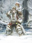 1boy 1other belt brown_gloves carrying cat cat_tail chestnut_mouth coattails facepaint felyne full_body fur_coat fur_hat gloves green_eyes grin haban_(haban35) hat headgear helmet monster_hunter monster_hunter:_world multiple_belts pouch shoulder_carry smile snow snowing tail ushanka winter
