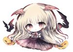 1girl :< animal bangs bat bat_wings blonde_hair blush closed_mouth collared_shirt commentary_request cottontailtokki eyebrows_visible_through_hair flower full_body granblue_fantasy hair_between_eyes head_wings jack-o'-lantern long_hair long_sleeves looking_at_viewer pleated_skirt pointy_ears purple_skirt red_eyes red_flower red_rose red_wings rose shingeki_no_bahamut shirt simple_background skirt solo vampy very_long_hair white_background white_shirt wings