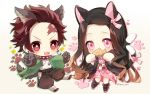 1boy 1girl :d animal_ears bangs black_hair black_legwear black_pants blush brother_and_sister brown_background brown_hair cat_ears cat_girl cat_tail checkered chibi commentary_request earrings fangs food food_in_mouth forehead gloves gradient gradient_background gradient_hair grey_gloves hair_ribbon heart jacket japanese_clothes jewelry kamado_nezuko kamado_tanjirou kemonomimi_mode kimetsu_no_yaiba kimono long_hair long_sleeves mouth_hold multicolored_hair multiple_tails obi open_clothes open_jacket open_mouth pants parted_bangs paw_gloves paw_print paws pink_eyes pink_kimono pink_ribbon print_kimono red_eyes ribbon sash siblings smile socks sparkle tail taiyaki taya_5323203 twitter_username two_tails v-shaped_eyebrows very_long_hair wagashi white_background white_gloves white_kimono wolf_boy wolf_ears wolf_tail