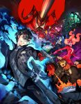 3boys 4girls amamiya_ren arsene_(persona_5) atlus axe battle black_jacket broken_mask cat_mask clenched_hands clenched_teeth green_eyes gun handgun highres jacket kitagawa_yuusuke looking_at_viewer morgana_(persona_5) multiple_boys multiple_girls necronomicon_(persona_5) niijima_makoto official_art okumura_haru open_mouth persona persona_5 persona_5_scramble:_the_phantom_strikers pipe sakamoto_ryuuji sakura_futaba slingshot smile soejima_shigenori sword takamaki_anne teeth torn_clothes ufo weapon whip