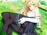 1girl ass atelier_(series) atelier_ryza bangs bare_shoulders black_legwear blonde_hair blouse blue_skirt blush bow bracelet braid breasts day elbow_gloves emoi_do gloves grass hair_bow hair_ribbon hairband jewelry klaudia_valentz large_breasts long_hair looking_at_viewer no_shoes outdoors pantyhose partly_fingerless_gloves petticoat red_bow ribbon sidelocks single_elbow_glove skirt smile soles thighband_pantyhose white_blouse white_gloves white_ribbon