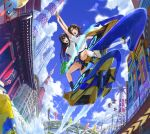 2girls :d aoi_misa bangs bare_legs black_hair blue_eyes blue_skirt blue_sky breasts brown_hair building city cityscape clouds day eyebrows_visible_through_hair hair_ornament hairclip highres interlocked_fingers jet_ski kandagawa_jet_girls light medium_breasts multiple_girls namiki_rin official_art open_mouth outdoors pleated_skirt ribbon school_uniform shirt shoes sitting skirt sky skyscraper smile socks standing temple_gate thighs tokyo_(city) tokyo_tower water water_gun white_shirt yellow_eyes
