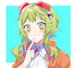 1girl :3 amulet blush commentary finger_to_chin flower_in_eye goggles goggles_on_head green_eyes green_hair gumi highres index_finger_raised jacket kaname_monika looking_at_viewer neckerchief orange_jacket red_goggles shirt short_hair short_hair_with_long_locks smile symbol_in_eye upper_body vocaloid white_shirt