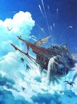 animal blue_sky clouds commentary_request day dragon fantasy flag flying highres mocha_(cotton) no_humans original outdoors sail scenery ship sky smoke watercraft