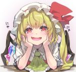 1girl :d ascot bangs blonde_hair blush commentary_request crystal eyebrows_visible_through_hair fangs flandre_scarlet frilled_ascot frills gradient gradient_background grey_background hands_up hat hat_ribbon head_rest long_hair looking_at_viewer mob_cap one_side_up open_mouth puffy_short_sleeves puffy_sleeves red_eyes red_ribbon red_vest ribbon shadow shirt short_sleeves skin_fangs smile solo syuri22 touhou translated upper_body v-shaped_eyebrows vest white_headwear white_shirt wings yellow_neckwear