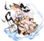 1girl ass azur_lane bare_shoulders bat black_headwear bow bowtie broom broom_riding candle closed_mouth erebus_(azur_lane) erebus_(wardrobe_witchery)_(azur_lane) full_body garter_straps ghost halloween hat high_heels highres index_finger_raised long_hair looking_at_viewer manjuu_(azur_lane) miniskirt nail_polish official_art pointy_ears red_eyes red_nails saru shirt shoe_dangle sidelocks skirt slit_pupils solo striped striped_legwear transparent_background turret underbust white_hair white_shirt witch witch_hat yellow_skirt