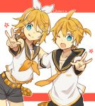 1boy 1girl :p bangs bare_shoulders bass_clef belt black_collar black_shorts blonde_hair blue_eyes bow collar commentary cowboy_shot crop_top detached_sleeves hair_bow hair_ornament hairclip kagamine_len kagamine_rin leaning_forward looking_at_viewer neckerchief necktie one_eye_closed outstretched_hand sailor_collar school_uniform shirt short_hair short_ponytail short_shorts short_sleeves shorts siblings sleeveless sleeveless_shirt smile spiky_hair standing star swept_bangs tongue tongue_out treble_clef twins twitter_username utaori vocaloid w white_bow white_shirt yellow_neckwear