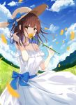 1girl bangs bare_shoulders blue_ribbon blush brown_eyse brown_hair clouds commentary_request day dress eyebrows_visible_through_hair flower hat hat_ribbon highres holding holding_flower looking_at_viewer medium_hair original outdoors ribbon sun_hat white_dress zhiyou_ruozhe