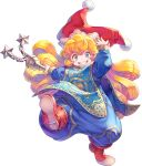 1girl artist_request bangs blonde_hair blush bodysuit boots charlotte_(seiken_densetsu_3) flail full_body grin hat holding holding_weapon jester_cap long_hair looking_at_viewer official_art pom_pom_(clothes) red_footwear red_headwear seiken_densetsu seiken_densetsu_3 smile solo transparent_background violet_eyes weapon