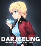 1girl bangs black_background blonde_hair blue_eyes braid character_name cup darjeeling dated epaulettes eyebrows_visible_through_hair fujimaru_arikui girls_und_panzer holding holding_cup jacket leaning_forward long_sleeves looking_to_the_side military military_uniform open_clothes open_jacket red_jacket short_hair solo st._gloriana's_military_uniform steam teacup tied_hair uniform