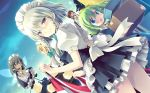5girls :d :o apron artist_request ascot bangs blonde_hair blue_dress blue_eyes blush bow box braid breasts brown_hair cowboy_shot daiyousei dress dutch_angle eyebrows_visible_through_hair fairy_maid fairy_wings frilled_apron frills from_behind green_bow green_hair grey_hair hair_between_eyes hair_bow holding holding_box izayoi_sakuya long_hair looking_at_viewer looking_back maid maid_apron maid_headdress medium_breasts multiple_girls night night_sky one_side_up open_mouth outdoors petticoat pinafore_dress profile puffy_short_sleeves puffy_sleeves shirt short_dress short_hair short_sleeves sidelocks silver_hair sky smile standing sweat thighs touhou touhou_cannonball twin_braids waist_apron white_apron white_shirt wings yellow_bow yellow_eyes yellow_neckwear |_|