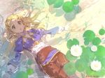 1girl bangs blonde_hair braid breasts crown_braid day flower green_eyes hair_ornament hairclip highres lips long_hair long_sleeves lotus lying medium_breasts on_back outdoors pants parted_bangs parted_lips partially_submerged pointy_ears princess_zelda shirt shuri_(84k) solo sparkle sunlight the_legend_of_zelda the_legend_of_zelda:_breath_of_the_wild thick_eyebrows twitter_username water