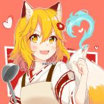 1girl animal_ear_fluff animal_ears ankujo apron artist_name bangs blonde_hair blue_fire blush commentary fang fire flower fox_ears fox_tail hair_between_eyes hair_flower hair_ornament heart highres holding_ladle japanese_clothes kimono ladle looking_at_viewer medium_hair open_mouth senko_(sewayaki_kitsune_no_senko-san) sewayaki_kitsune_no_senko-san skin_fang smile solo tail twitter_username upper_body yellow_eyes