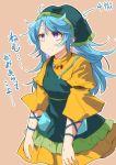 apron blue_hair dress green_apron haniyasushin_keiki head_scarf jewelry magatama magatama_necklace moja_(moja4192) necklace single_strap touhou translation_request violet_eyes yellow_dress