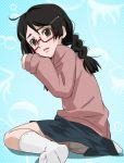 1girl black_hair braid brown_eyes freckles glasses haruyama kuragehime kurashita_tsukimi long_hair looking_at_viewer panties red-framed_glasses semi-rimless_glasses skirt socks solo twin_braids under-rim_glasses underwear white_panties
