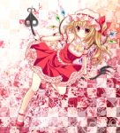 1girl ascot blonde_hair blush bobby_socks bow checkered checkered_background flandre_scarlet hat hat_bow kino_(kino_konomi) laevatein red red_eyes short_hair side_ponytail skirt skirt_set socks solo touhou wings wrist_cuffs