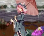 1girl blue_dress cloudy_sky dress flower hat lake long_sleeves looking_at_viewer pink_eyes pink_hair rain reflection saigyouji_yuyuko sash smile snail solo tamagogayu1998 touhou triangular_headpiece turning umbrella veil wide_sleeves