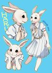 1girl beastars belt blush bunny_tail fur furry msdk_max necktie school_uniform skirt solo tail twitter_username