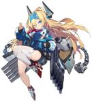1girl amoeba_yuanchong anchor asymmetrical_legwear azur_lane bangs blonde_hair blue_eyes bodysuit chain flat_chest hair_over_eyes hairband headgear jacket knee_up long_hair looking_at_viewer mechanical_horns multicolored multicolored_bodysuit multicolored_clothes multicolored_jacket necktie off-shoulder_jacket official_art open_mouth rigging rudder_footwear smalley_(azur_lane) solo thigh-highs torpedo_tubes transparent_background turret white_legwear