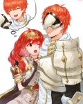 1boy 1girl armor brother_and_sister celica_(fire_emblem) closed_eyes closed_mouth conrad_(fire_emblem) dress earrings fingerless_gloves fire_emblem fire_emblem_echoes:_shadows_of_valentia futabaaf gloves highres imagining jewelry long_hair mask one_eye_closed open_mouth red_eyes redhead short_hair siblings simple_background tiara white_background