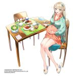 1girl bangs bare_legs belly blonde_hair blue_eyes blush bowl braid buttons cardigan cellphone cellphone_charm chair chopstick_rest chopsticks collared_dress company_name dress food full_body hair_ornament half_updo hand_on_own_stomach jewelry kansen_x_shoujo knees_together_feet_apart kodama_(wa-ka-me) legs long_hair long_sleeves looking_at_viewer meal meat open_mouth orange_dress partially_unbuttoned phone pregnant rice rice_bowl ring salad sandals short_dress simple_background sitting slippers smartphone smile soup sparkle table tissue_box very_long_hair watermark wedding_band white_background
