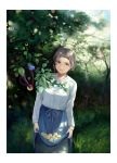 1girl apple apron apron_hold bird branch brown_hair food fruit grass green_eyes head_tilt hinoshita_akame looking_at_viewer original outdoors skirt smile solo tree waist_apron