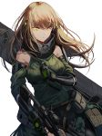 1girl assault_rifle bare_shoulders belt black_gloves brown_hair closed_mouth clothes_around_waist commentary detached_sleeves girls_frontline gloves gun highres jacket jacket_around_waist long_hair m4_carbine m4a1_(girls_frontline) multicolored_hair pouch rifle scarf silence_girl streaked_hair weapon yellow_eyes