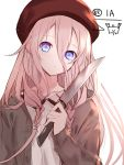 1girl bangs beret blue_eyes brown_jacket character_name collarbone collared_shirt eyebrows_behind_hair hair_between_eyes hand_up hat head_tilt highres holding holding_knife ia_(vocaloid) jacket knife long_hair long_sleeves looking_at_viewer open_clothes open_jacket parted_lips pink_hair red_headwear shirt sleeves_past_wrists solo upper_body vocaloid white_shirt yuuki_kira