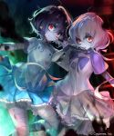 2girls bandaged_arm bandaged_head bandaged_leg bandages black_hair blue_skirt flower grey_skirt hair_flower hair_ornament highres holding holding_microphone irua konno_junko locked_arms looking_at_viewer microphone mizuno_ai multiple_girls red_eyes short_hair_with_long_locks silver_hair skirt stitches twintails zombie zombie_land_saga