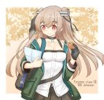 1girl alternate_costume autumn_leaves backpack bag black_choker black_gloves border breasts character_name choker commentary_request cookie eating food gloves green_jacket highres jacket johnston_(kantai_collection) kantai_collection light_brown_hair long_hair map_(object) medium_breasts momiji_manjuu paper red_eyes shirt shonasan single_glove solo strapless tubetop two_side_up white_border white_shirt