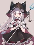 1girl anchor animal_hood azur_lane bangs black_cape black_ribbon cape center_frills chain dress erebus_(azur_lane) frilled_gloves frilled_sleeves frills fujii_shino gloves hair_between_eyes high-waist_skirt highres holding holding_staff hood hooded_cape long_hair looking_to_the_side neck_ribbon pantyhose parted_lips petticoat pinafore_dress pink_eyes puffy_short_sleeves puffy_sleeves red_ribbon ribbon ribbon-trimmed_sleeves ribbon_trim short_sleeves sidelocks skirt solo staff white_gloves white_hair white_legwear