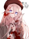 1girl bangs beret blood blood_on_face bloody_clothes bloody_knife blue_eyes brown_jacket character_name collarbone collared_shirt eyebrows_behind_hair hair_between_eyes hand_up hat head_tilt highres holding holding_knife ia_(vocaloid) jacket knife long_hair long_sleeves looking_at_viewer open_clothes open_jacket parted_lips pink_hair red_headwear shirt sleeves_past_wrists solo upper_body vocaloid white_shirt yuuki_kira