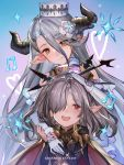 2girls blue_hair copyright_name draph gloves granblue_fantasy hair_over_one_eye hand_on_another's_head hanus harvin hat highres horns izmir long_hair mole mole_under_mouth multiple_girls musical_note nio_(granblue_fantasy) pointy_ears purple_hair smile snowflakes white_gloves