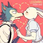 1boy 1girl beastars blush closed_eyes fur furry haru_(beastars) kiss legosi msdk_max necktie nose_kiss rabbit school_uniform suspenders wolf