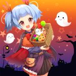 1girl :d ame. animal azur_lane bangs basket belt bird black_cape black_shirt black_skirt blue_hair blush candy cape cat checkerboard_cookie chick commentary_request cookie eyebrows_visible_through_hair food ghost hair_ribbon holding holding_basket jack-o'-lantern lollipop long_sleeves looking_at_viewer manjuu_(azur_lane) multicolored multicolored_cape multicolored_clothes open_mouth pleated_skirt red_cape red_eyes red_ribbon ribbon round_teeth shirt sidelocks skirt smile solo star teeth torn_cape torn_clothes twintails u-556_(azur_lane) upper_teeth