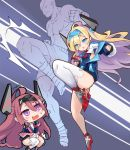 ahoge azur_lane blonde_hair blue_eyes eyepatch hair_over_one_eye highres jacket kicking mechanical_horns off-shoulder_jacket parody phandit_thirathon ribbon sagat smalley_(azur_lane) stanly_(azur_lane) street_fighter thigh-highs tiger_knee white_legwear