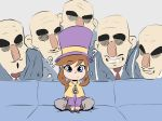 1girl 5boys ? a_hat_in_time bald bard-bot big_nose blue_eyes brown_hair cape couch hat hat_kid indian_style low_ponytail mafia_(a_hat_in_time) multiple_boys parody piper_perri_surrounded sitting solo_focus surrounded thick_eyebrows top_hat yellow_cape zipper