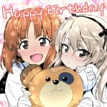 2girls bandaged_hands bandages bandaid bangs black_ribbon blouse blush boko_(girls_und_panzer) brown_eyes brown_hair commentary english_text eyebrows_visible_through_hair frown girls_und_panzer hair_ribbon happy_birthday holding light_brown_hair long_hair looking_at_viewer multiple_girls nakahira_guy nishizumi_miho one_side_up ooarai_school_uniform open_mouth photo_booth ribbon school_uniform serafuku shimada_arisu short_hair side-by-side smile stuffed_animal stuffed_toy teddy_bear white_blouse